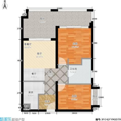 国信龙沐湾2室1厅1卫0厨95.00㎡户型图