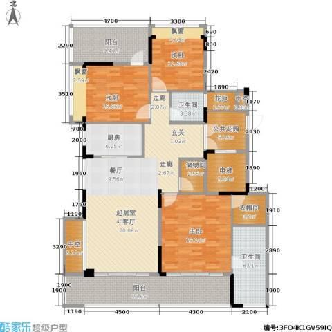 海棠福湾一号3室0厅2卫1厨165.00㎡户型图