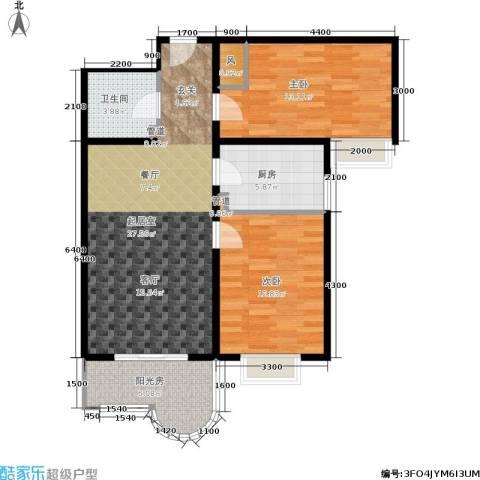 鼎翰名苑2室0厅1卫1厨92.00㎡户型图