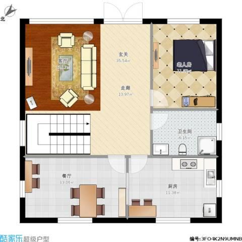 财富东方1室1厅1卫1厨106.00㎡户型图
