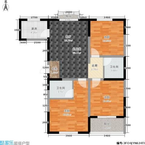 明林庭苑3室0厅2卫1厨105.00㎡户型图