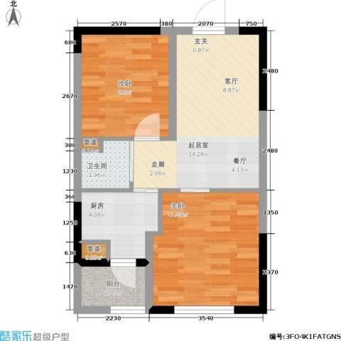澳海澜庭2室0厅1卫1厨50.00㎡户型图
