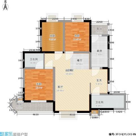车城温泉花园3室0厅2卫1厨117.00㎡户型图