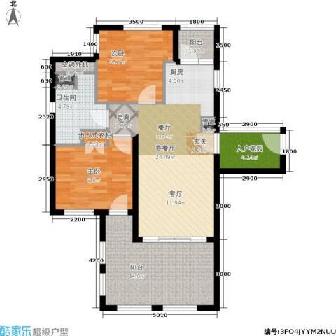 国信龙沐湾2室1厅1卫0厨90.00㎡户型图
