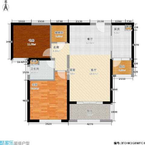 景瑞望府2室0厅1卫1厨95.00㎡户型图
