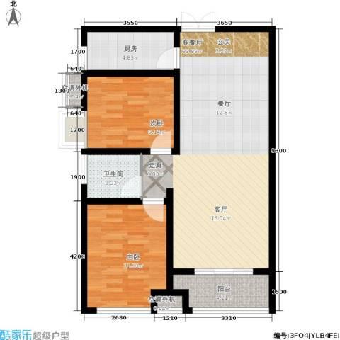 九珑邑2室1厅1卫1厨95.00㎡户型图