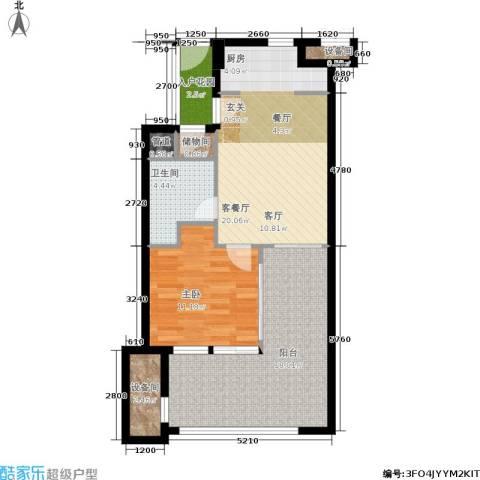 国信龙沐湾1室1厅1卫0厨71.00㎡户型图