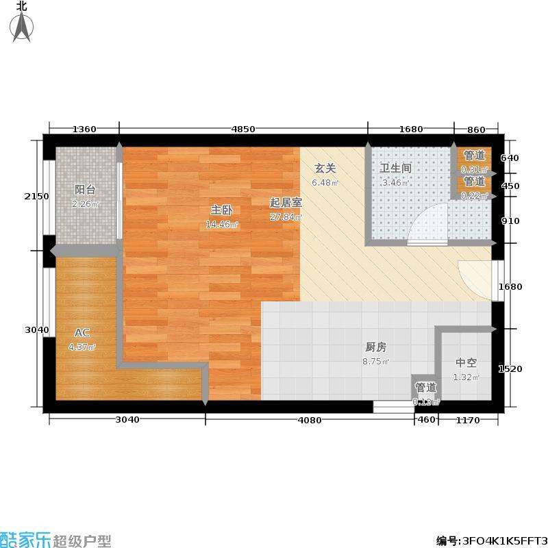 福星惠誉水岸国际澜桥公馆45.49㎡福星惠誉水岸国际瞰江公寓B2户型1室1厅