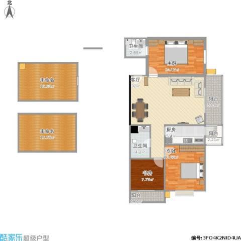 宏盛花园3室1厅2卫1厨164.00㎡户型图