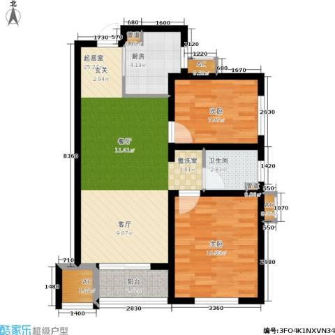 月珑湾2室0厅1卫1厨80.00㎡户型图