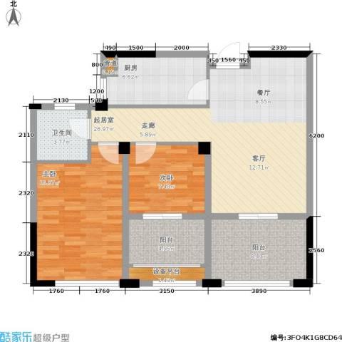 中港翡翠城2室0厅1卫1厨87.00㎡户型图