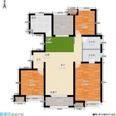 中海锦�湾3室1厅2卫1厨136.00㎡户型图