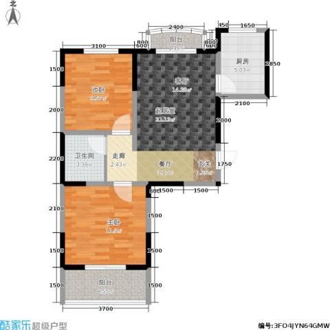 明林庭苑2室0厅1卫1厨93.00㎡户型图