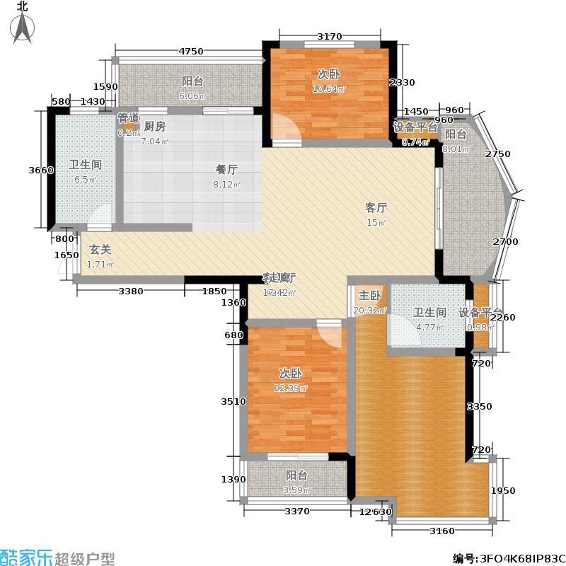 中央花园142.00㎡中央花园四期18#E户型图户型3室2厅2卫