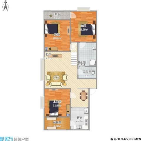 泉印兰亭3室1厅2卫1厨126.00㎡户型图