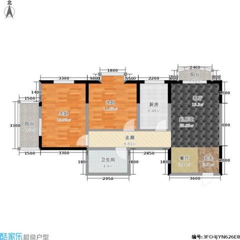 明林庭苑2室0厅1卫1厨96.00㎡户型图