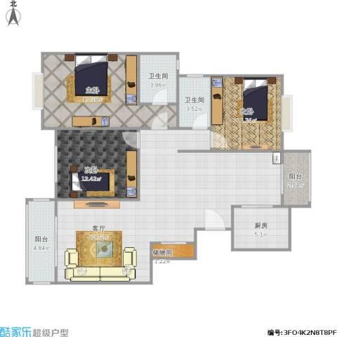 金城花园3室1厅2卫1厨142.00㎡户型图
