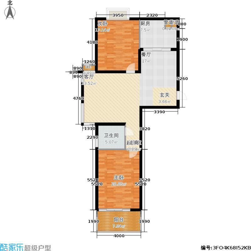 连城水岸二期D1两室两厅一卫112平米户型