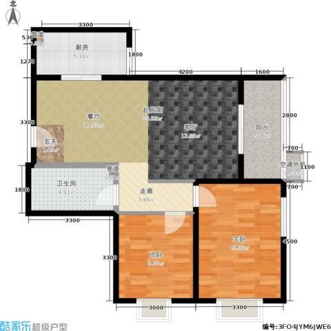 鼎翰名苑2室0厅1卫1厨90.00㎡户型图