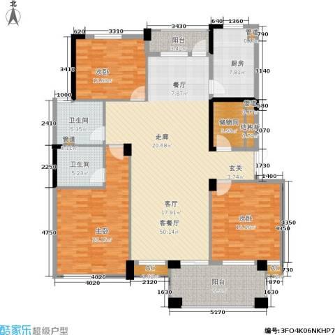 绿城桂花城3室1厅2卫1厨153.00㎡户型图