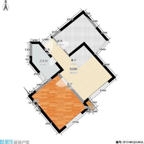 嘉实上城名都1室1厅1卫1厨58.00㎡户型图