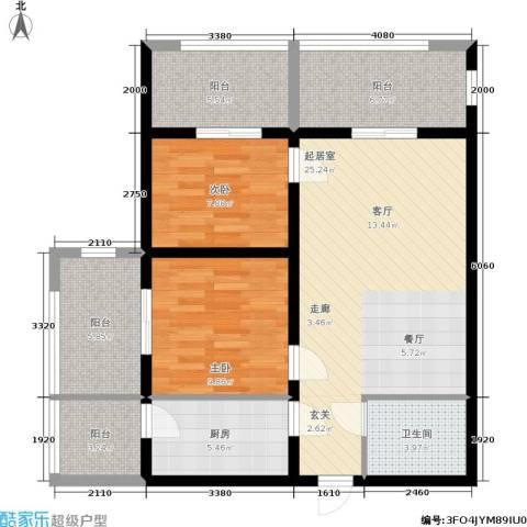 学院山2室0厅1卫1厨85.00㎡户型图