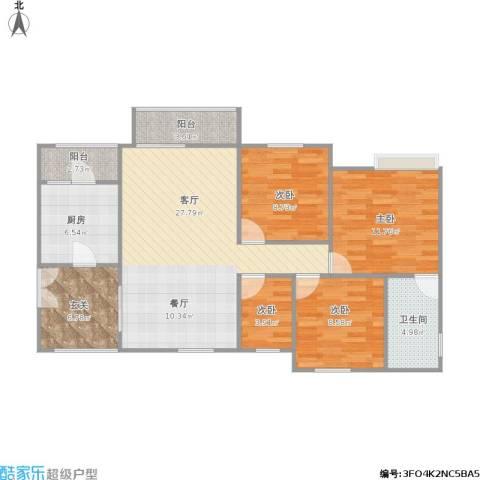 泽胜温泉城4室1厅1卫1厨116.00㎡户型图