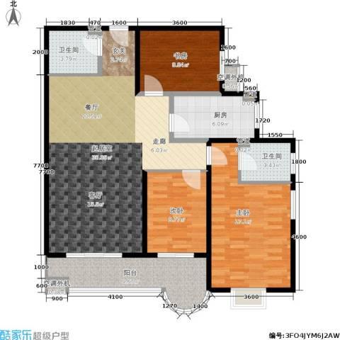 鼎翰名苑3室0厅2卫1厨128.00㎡户型图