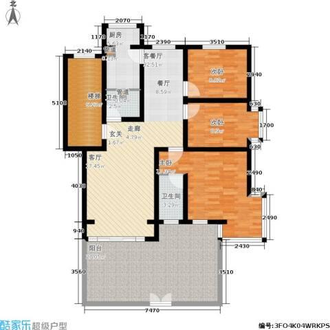 蓝调沙龙雅园3室1厅2卫1厨133.00㎡户型图