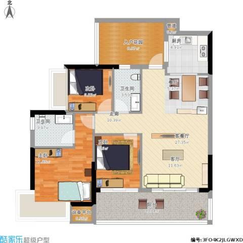 敏捷・锦绣明珠3室1厅2卫1厨122.00㎡户型图