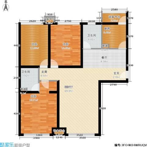蓝调沙龙雅园3室1厅2卫1厨135.00㎡户型图