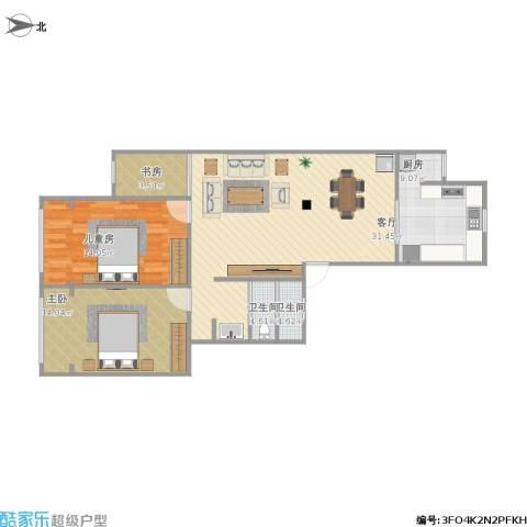 福赐新苑3室1厅2卫1厨102.00㎡户型图