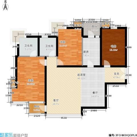 百旺茉莉园3室0厅2卫1厨166.00㎡户型图