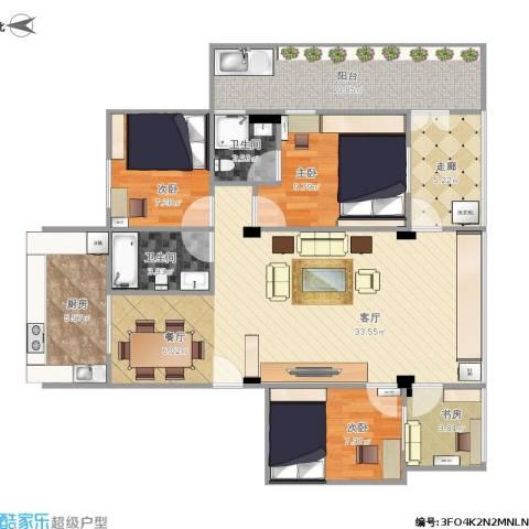 富丽家园4室1厅2卫1厨124.00㎡户型图