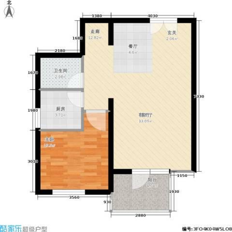蓝调沙龙雅园1室1厅1卫1厨61.00㎡户型图
