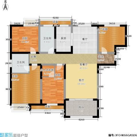 百乐广场3室1厅2卫1厨143.00㎡户型图