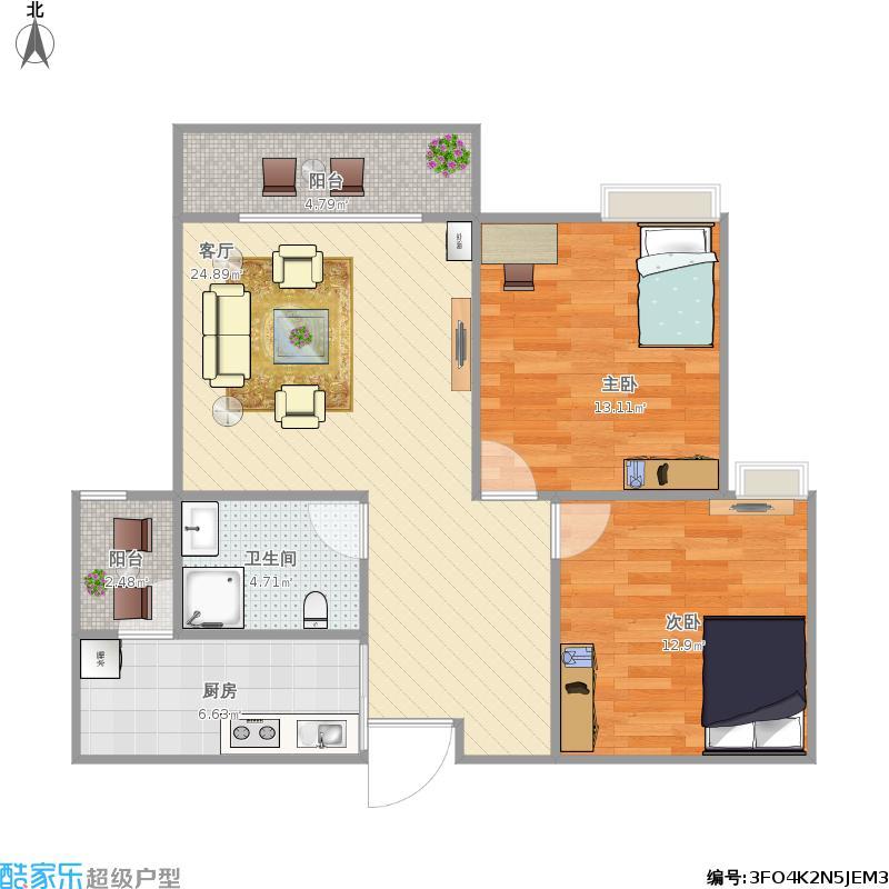 兰桂香都74.42方A2户型二室二厅
