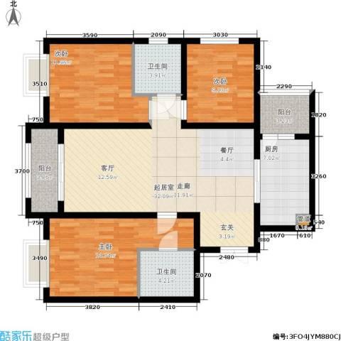 景泰茗苑3室0厅2卫1厨114.00㎡户型图