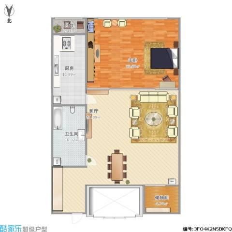 新天地小区1室1厅1卫1厨155.00㎡户型图