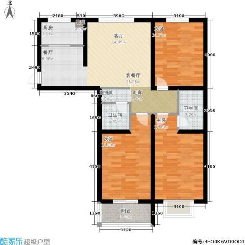 榕城世家3室1厅2卫1厨116.00㎡户型图