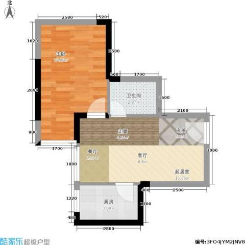 仕府公馆1室0厅1卫1厨49.00㎡户型图