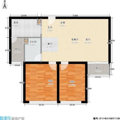 蓝调沙龙雅园2室1厅1卫1厨100.00㎡户型图