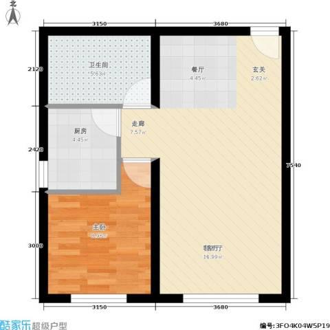 蓝调沙龙雅园1室1厅1卫1厨66.00㎡户型图
