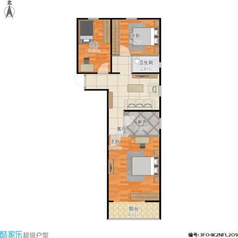安华西里3室1厅1卫1厨87.00㎡户型图