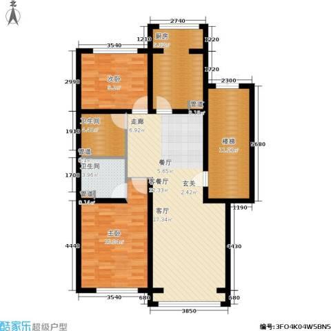 蓝调沙龙雅园2室1厅2卫1厨98.00㎡户型图