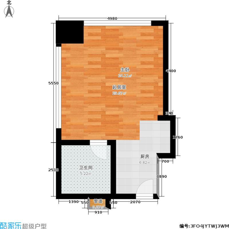嘉丽慈溪环球中心40.46㎡高层公寓1#楼5-11层西北边套总裁行宫D户型