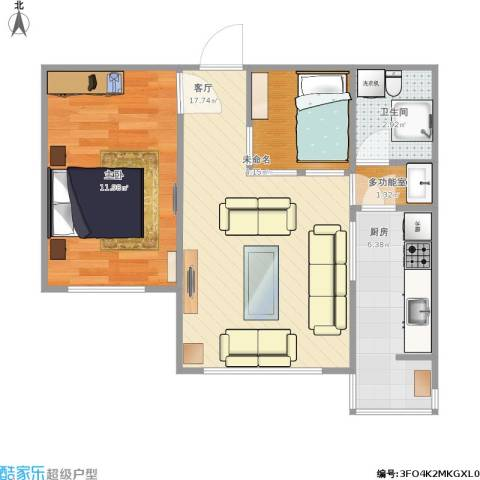 福华庄园1室1厅1卫1厨59.00㎡户型图