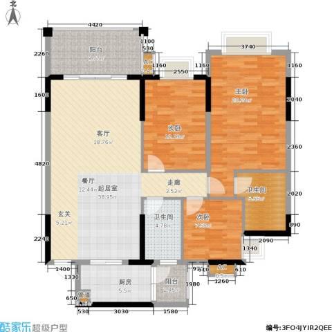 万科天河御品3室0厅2卫1厨119.00㎡户型图