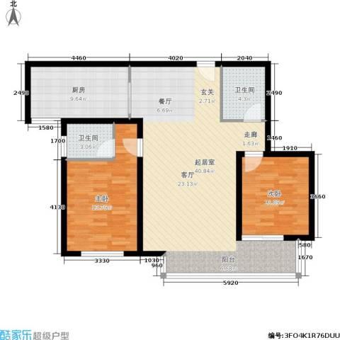 北城山水2室0厅2卫1厨115.00㎡户型图