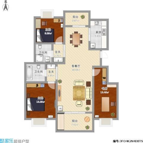 城开半岛花园3室1厅2卫1厨142.00㎡户型图